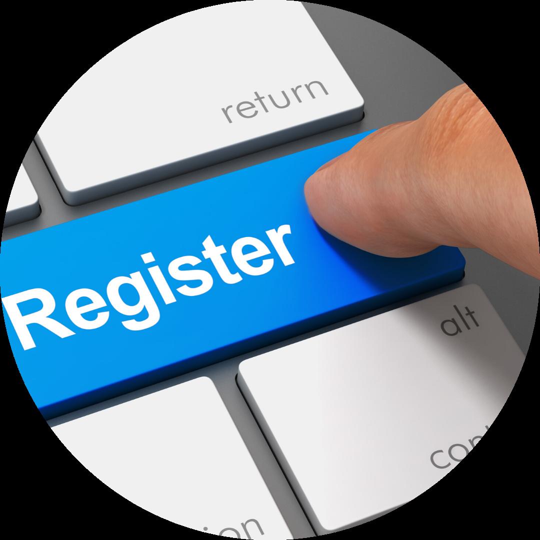 key on keyboard reads Register