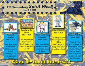 Elementary Spirit Week - 5/4-8/20