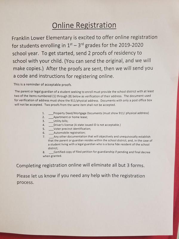 information for online registration 2019-2020