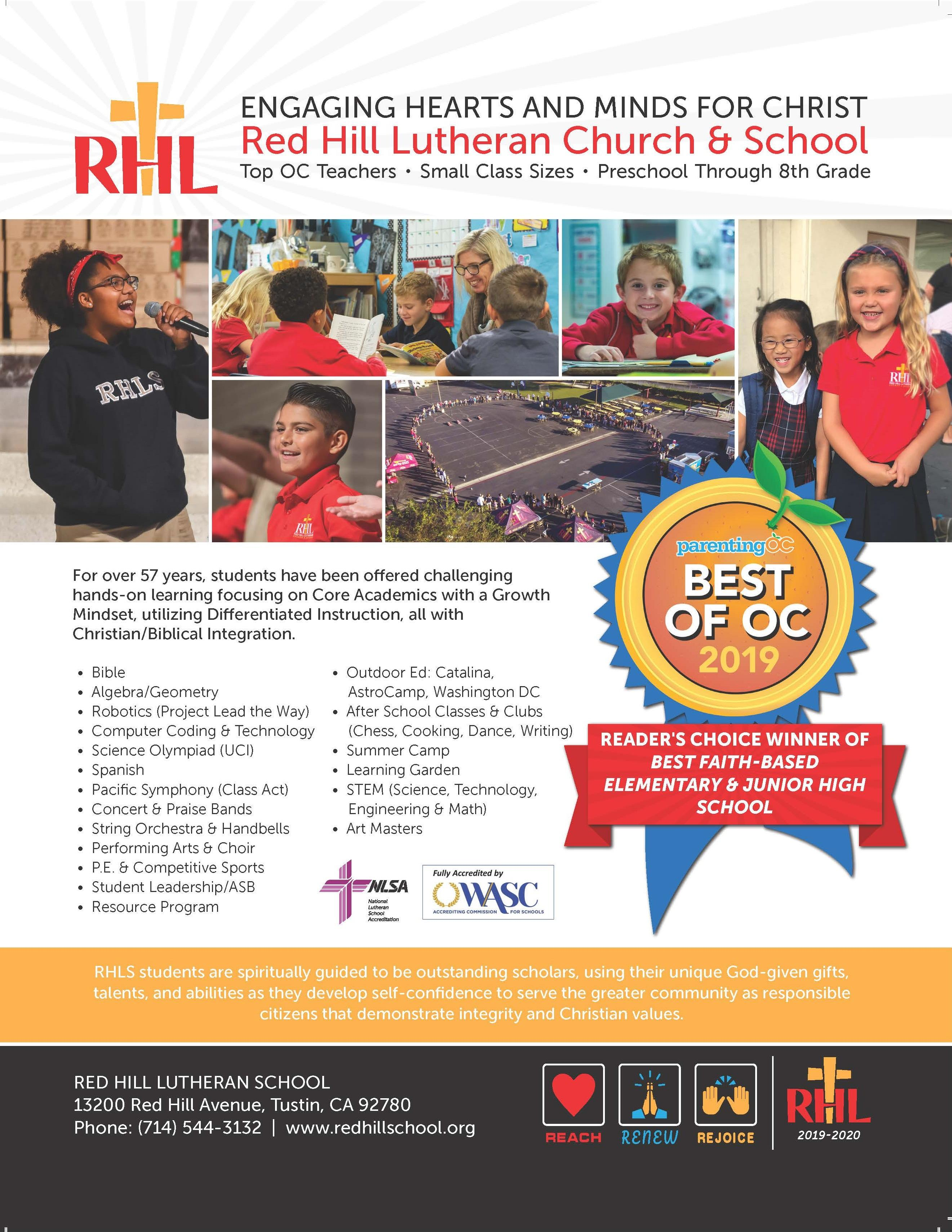 Parenting OC Magazine's just released Readers Choice Issue in which RHLS was voted as the Best Faith-Based Elementary/Junior High School in Orange County.