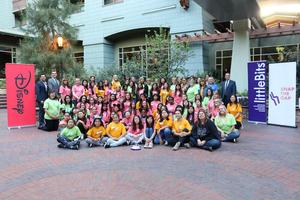 Group picture of all the girls, mentors, staff and volunteers