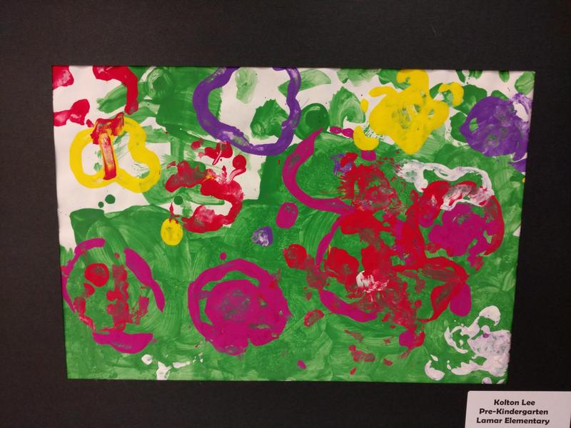painting by Prekindergarten students entered in art show at Clark Gardens