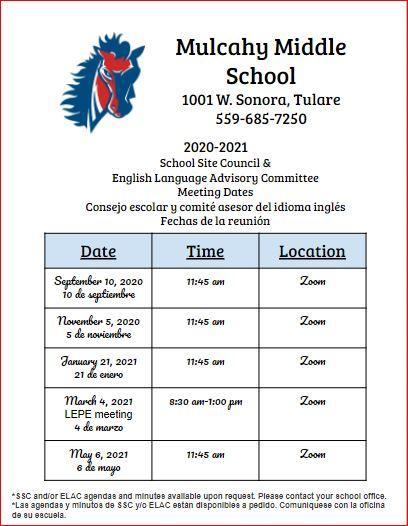 MU 20-21 SSC/ ELAC Site Meeting Dates