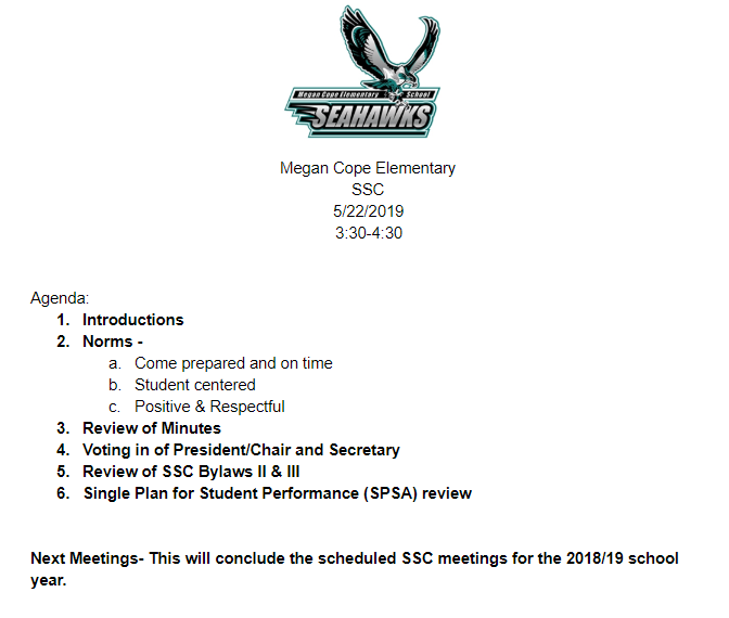 5/22/2019 Meeting Agenda