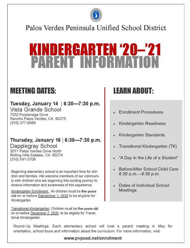 Kindergarten Parent Information Meetings