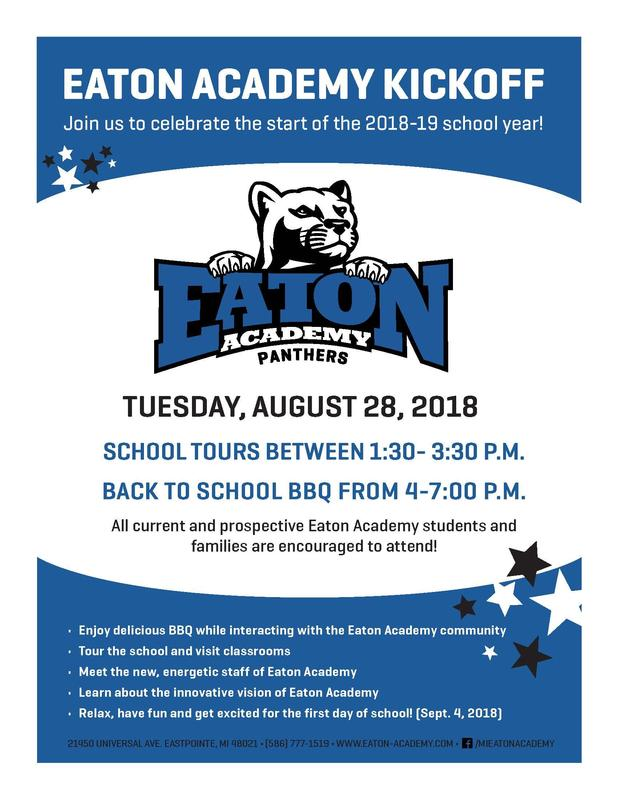 Join Eaton Academy on August 28, 2018 for a series of fun school events. These include school tours from 1:30-3:30pm and a BBQ from 4-7pm.  See you then! Image is of Eaton Academy new panther logo.