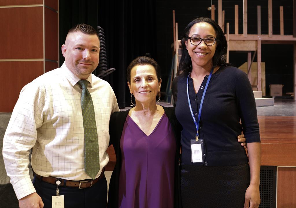 Photo of Edison principal Dr. Matt Bolton and assistant principal Crystal Marsh with Carolyn Dorfman.