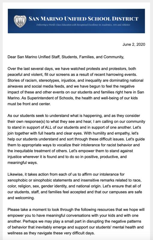 Screenshot of Superintendent Dr. Wilson's Message