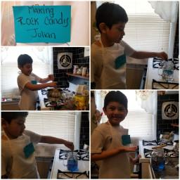 collage of Julian making rock candy