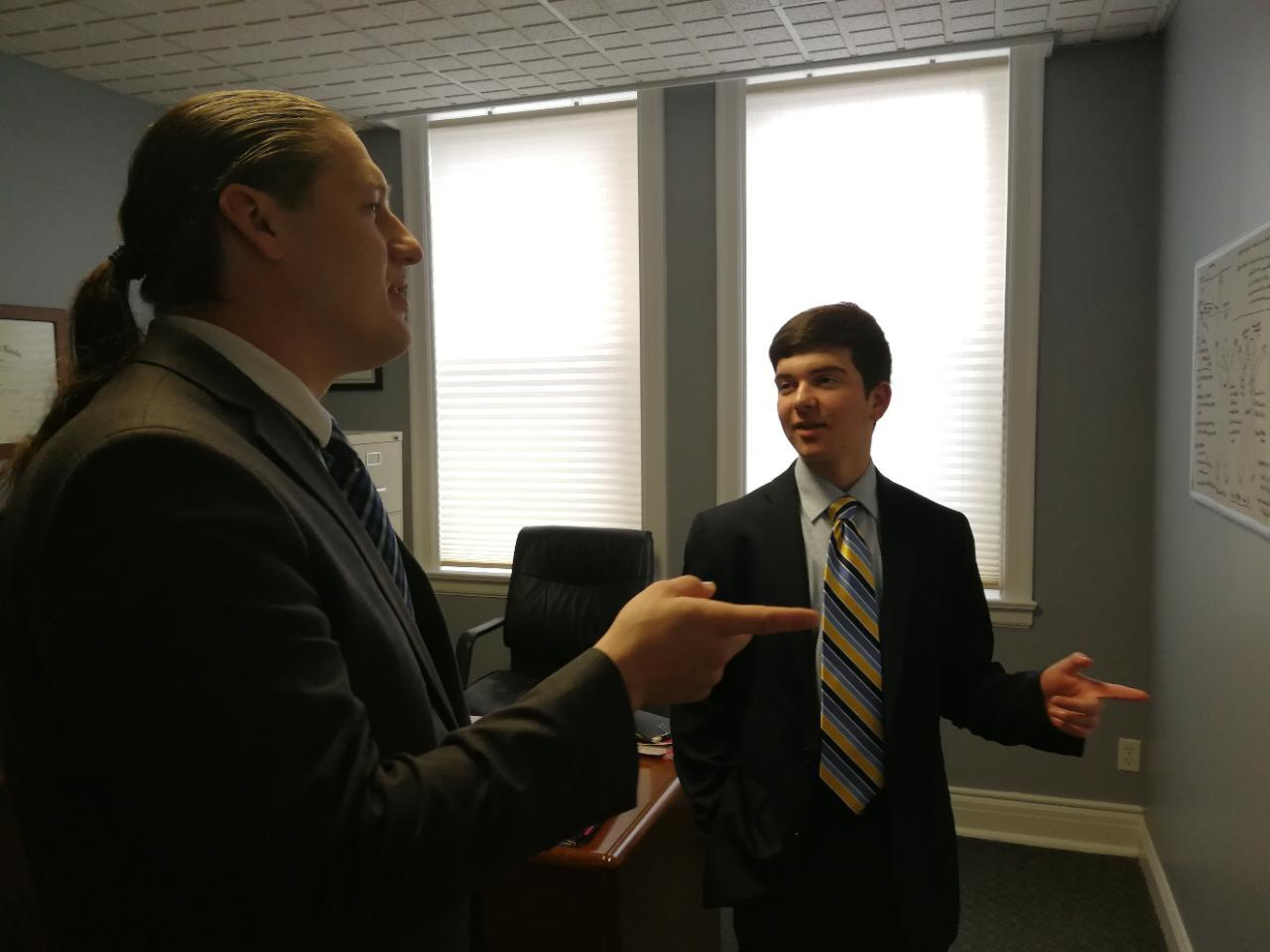student interning at a law firm