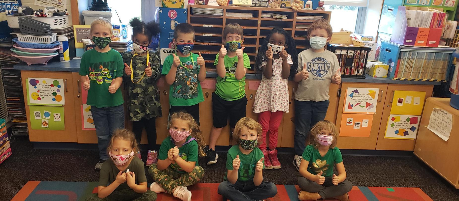 kindergarten students wearing green