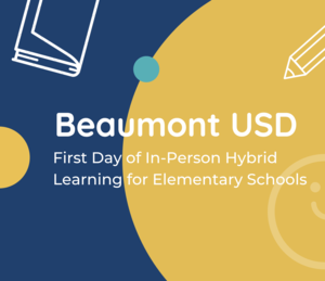Book and a happy face with the words Beaumont USD