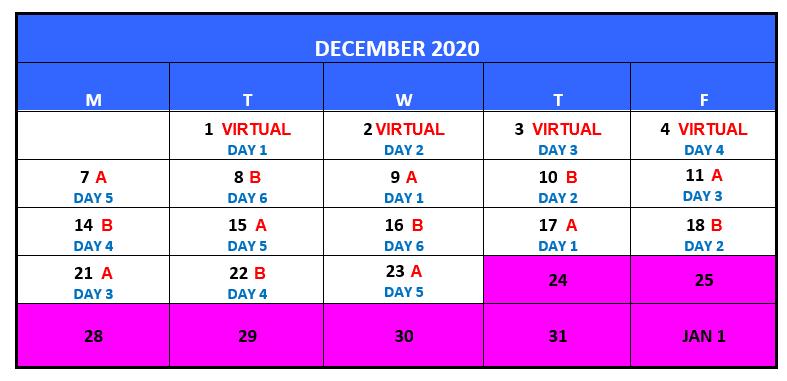 December A/B Schedule