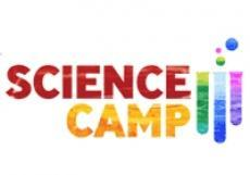 letters that spell science camp in different colors