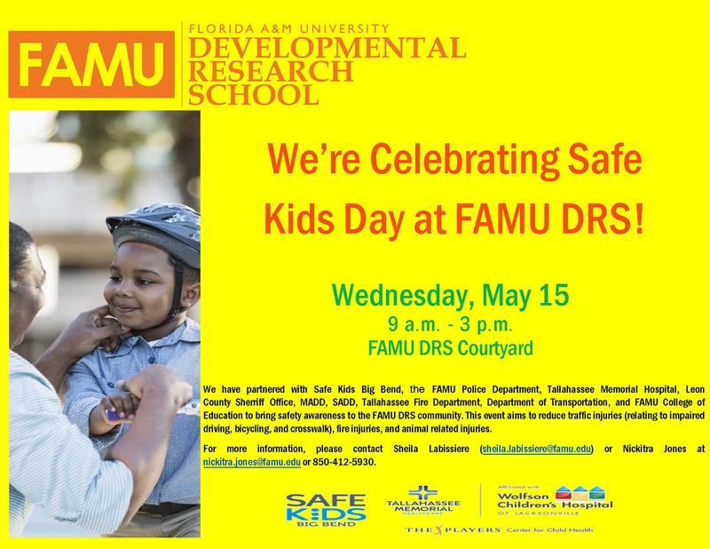 Safe Kids Day at FAMU DRS Flyer