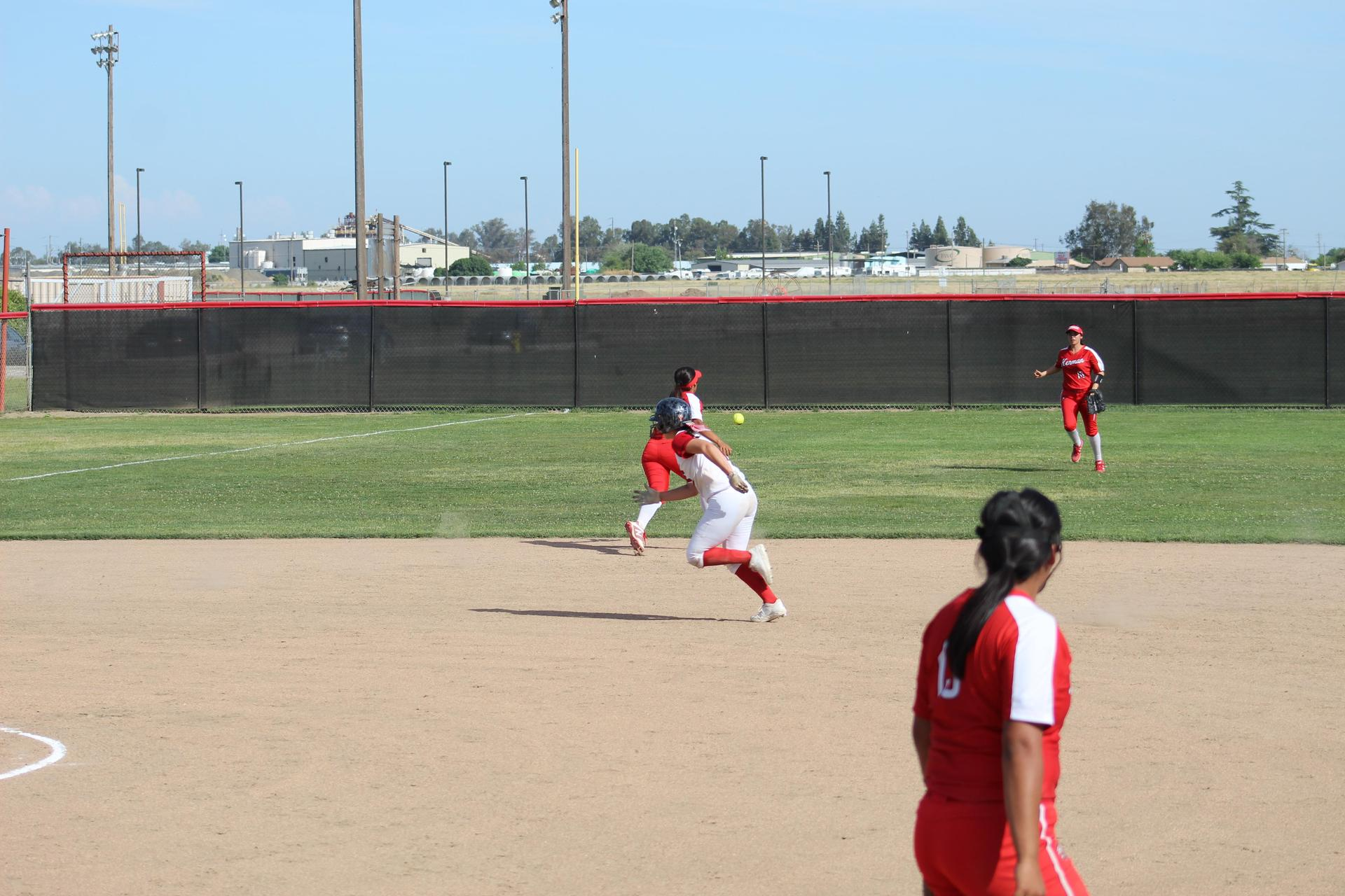 Varsity Girls Playing Softball