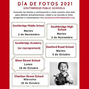 A list of school picture days in Spanish. All information is also in the body of the post.