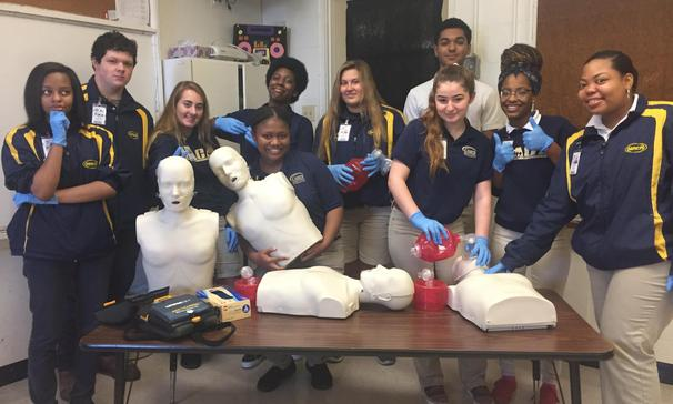 MACA:  Mr. Jonathan Autrey's First Responder class at have completed all BLS Skills test and are happy to move on to more.