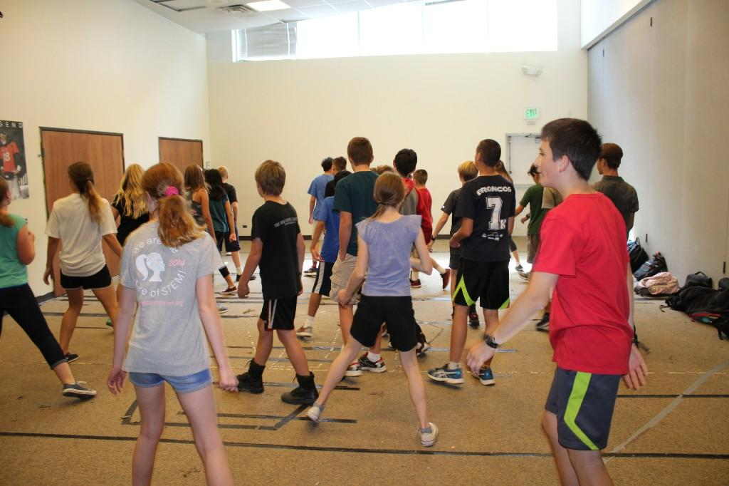 Middle schoolers practicing line dances in PE.
