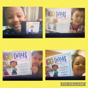 Students holding 100 days smarter certificate collage