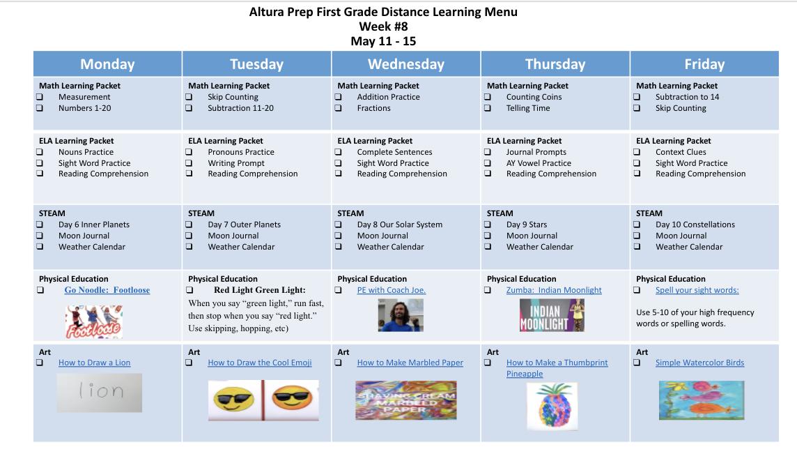 1st Grade Distance Learning Calendar