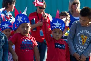 Jose Gutierrez and Danny Nunez, Castaic Elementary School students express patriotism at the Cub Rally 9/11 rememberance event Wednesday morning, Sept. 11, 2019. Gilbert Bernal/The Signal