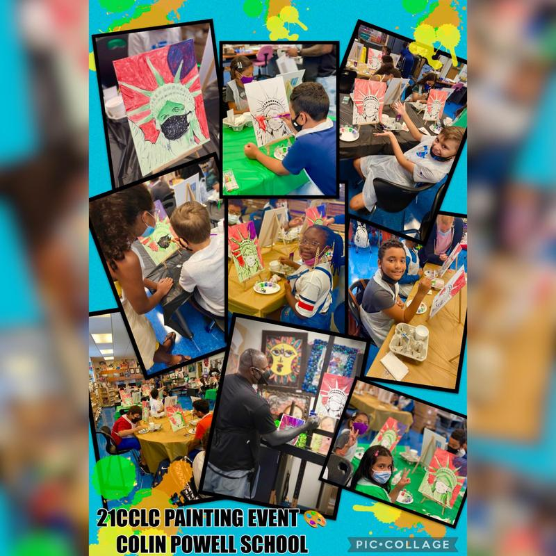 Students painting canvases collage