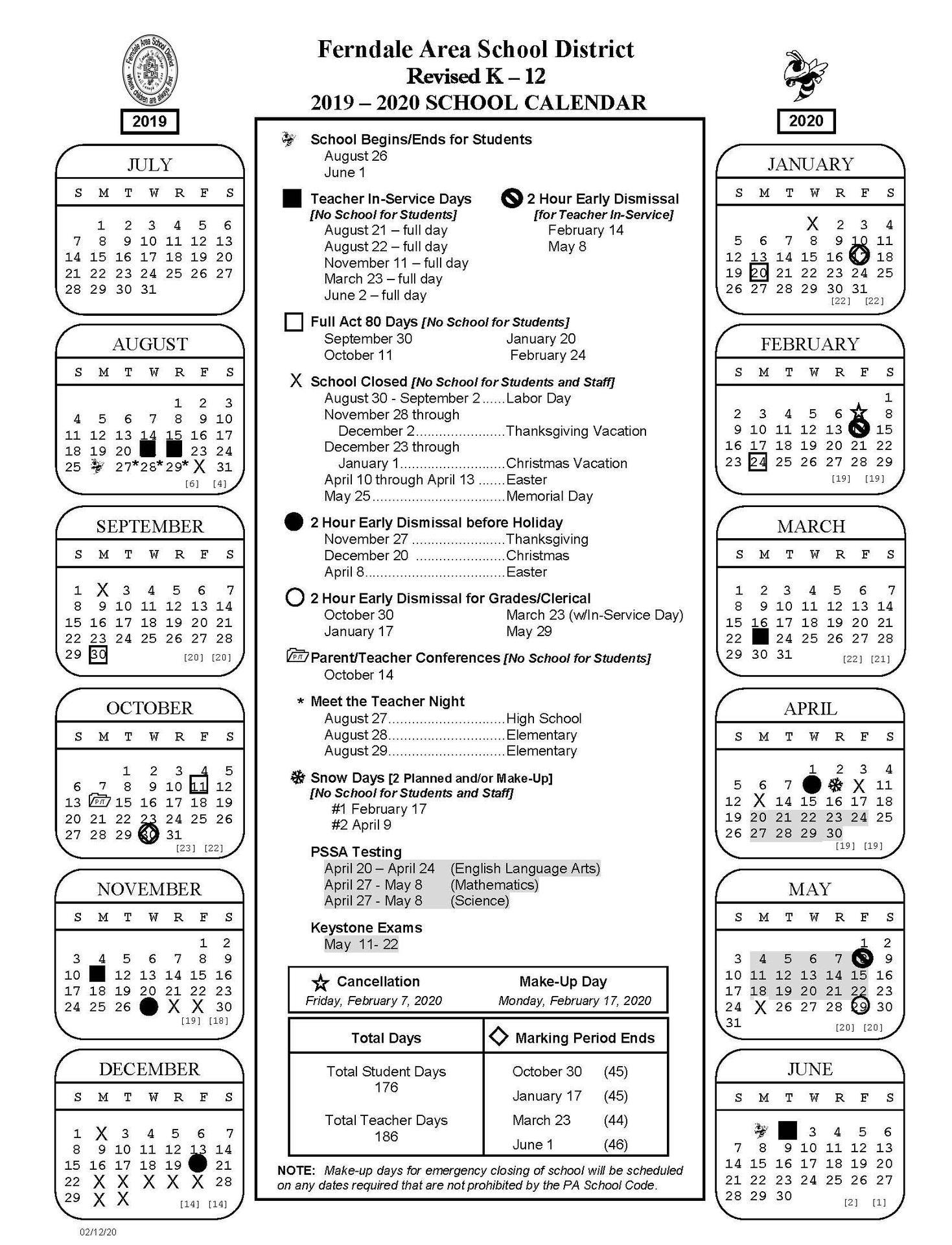 2019-2020 Revised K-12 School Calendar