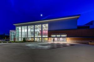 athletics entrance at night