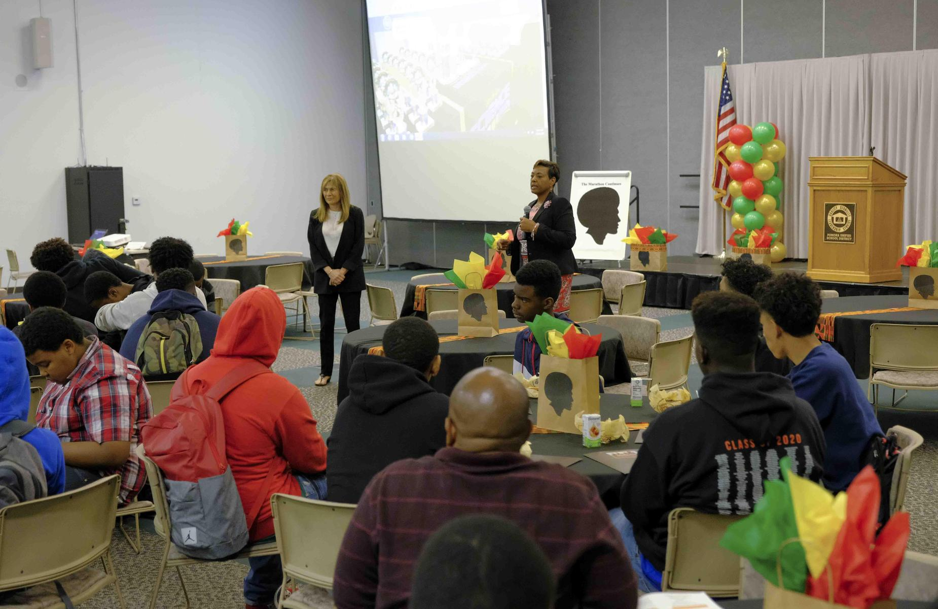 """School Board President Adrienne Konigar-Macklin, and School Board Member Dr. Robeta Perlman had our youth engaged at The PUSD/PABSE #AfricanAmericanMale summit. This year's theme """"The Marathon Continues"""" #proud2bepusd"""