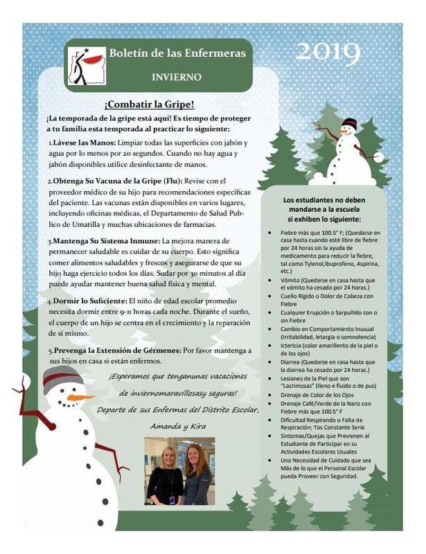Winter Newsletter in Spanish