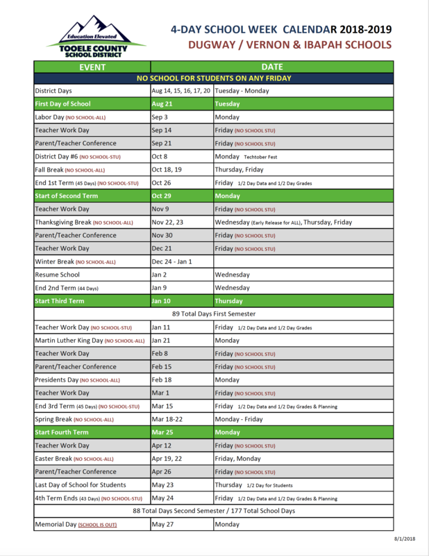 4-Day School Week Calendar 2018-2019 Thumbnail Image