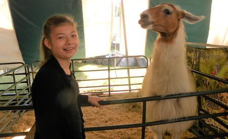 Smiling person with a llama