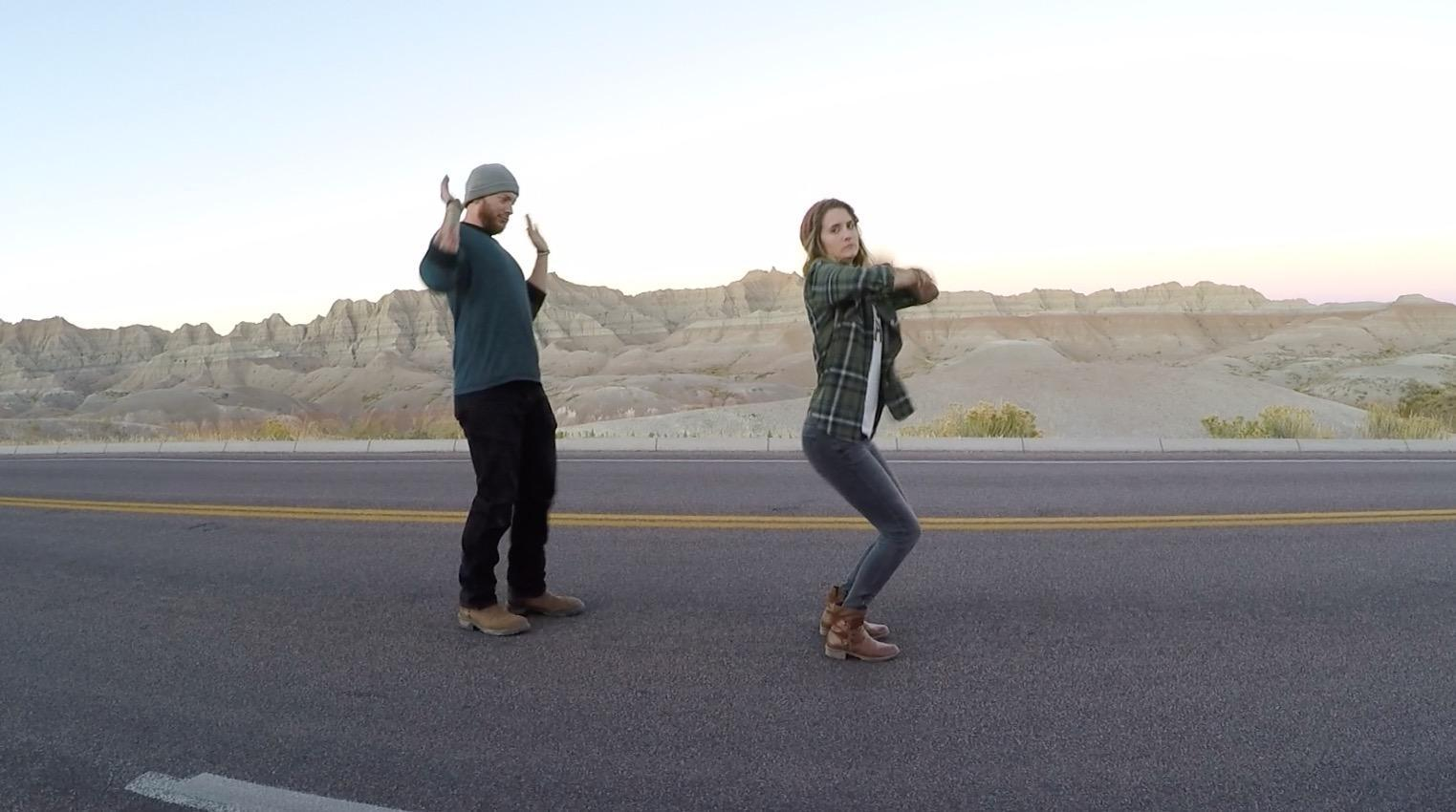 We dance everywhere, especially in streets...running through places like Badlands National Park