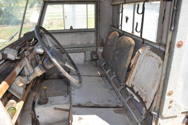 Inside the cab of the Land Rover