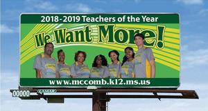 McComb School District Unveils new billboard on Delaware Avenue Featuring the 2018-2019 Teacher of The Year Recipients