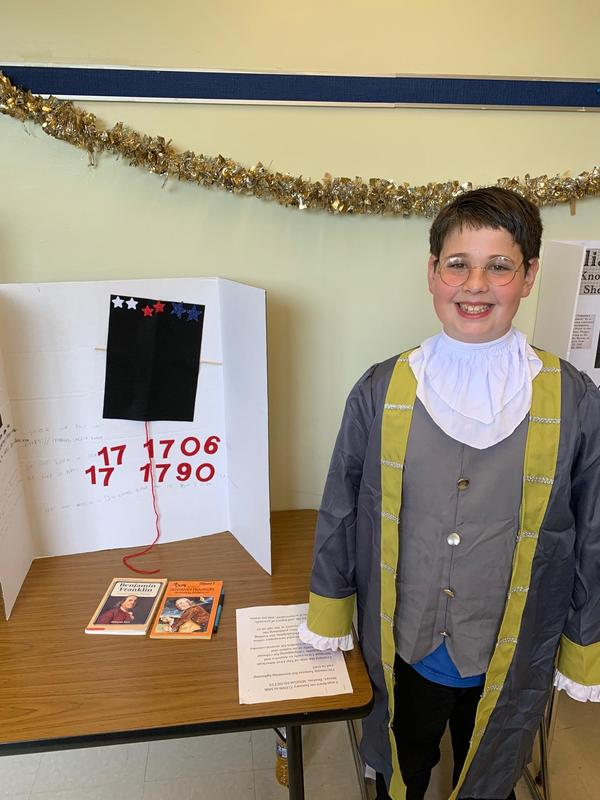 Student dressed as Ben Franklin