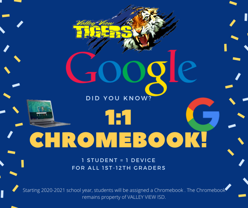 Students from 1st - 12th Grade to receive Chromebook for 20-21 school year! Thumbnail Image
