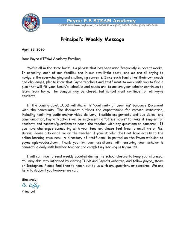 Principals Weekly Update - English