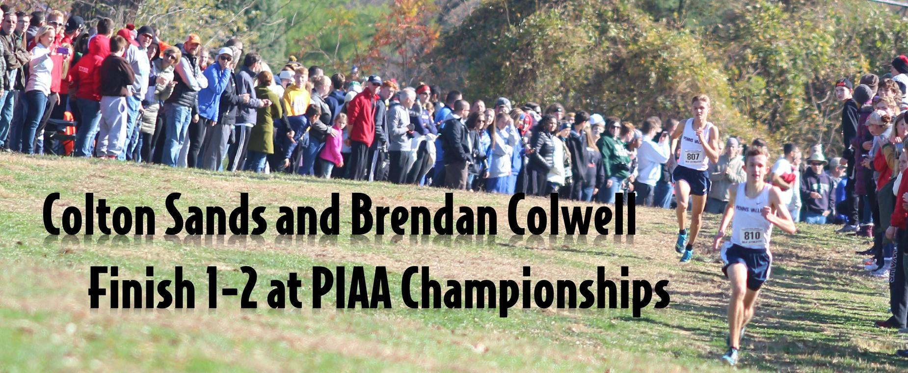 Colton Sands and Brendan Colwell finished 1-2 at the PIAA State Cross Country Championships in Hershey on Saturday.