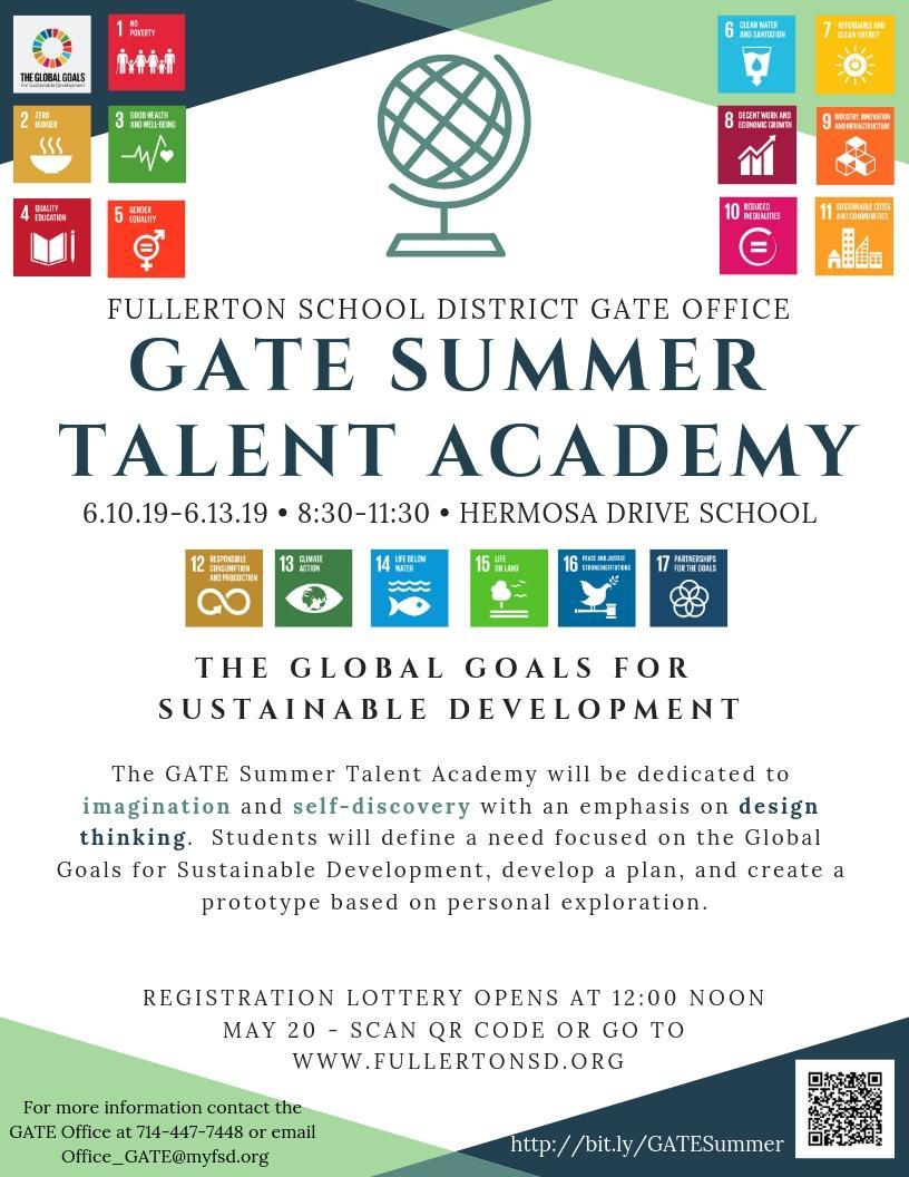 Flyer advertising the 2018-19 GATE Summer Talent Academy.