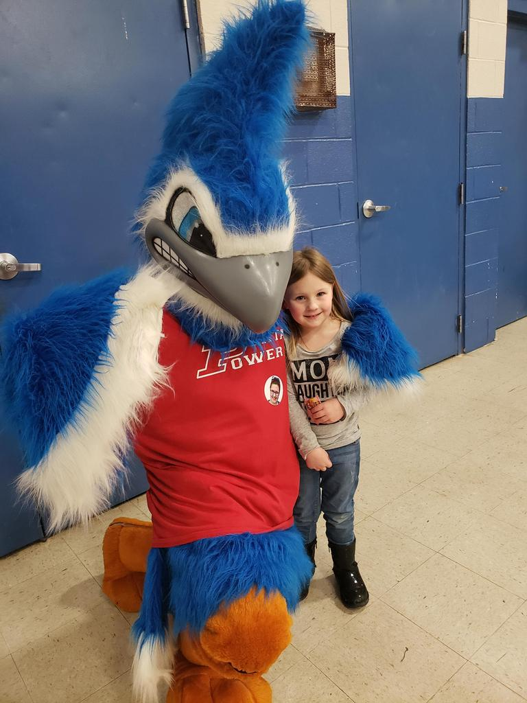 Bluejay with elementary student