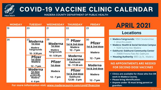 April Vaccine Calendar