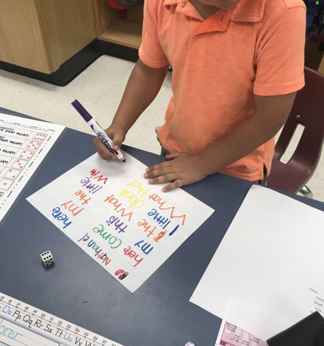 First grade spelling practice.