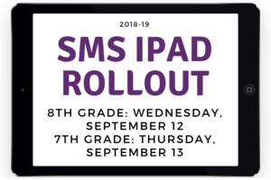SMS iPad Roll Out - 8th grade Wednesday September 12 7th grade Thursday September 13