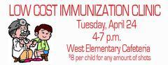 Immunization Clinic April 24, 4-7 p.m.