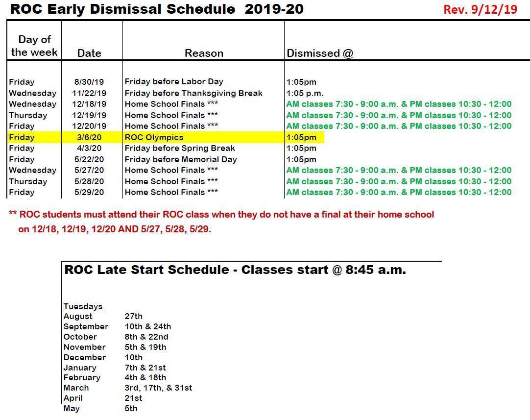 alternate schedule