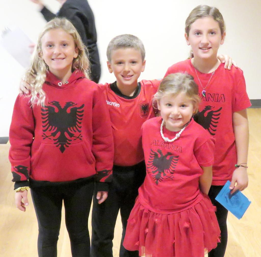 Four students wearing red representing Albania