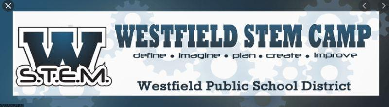 Graphic that says Westfield STEM Camp
