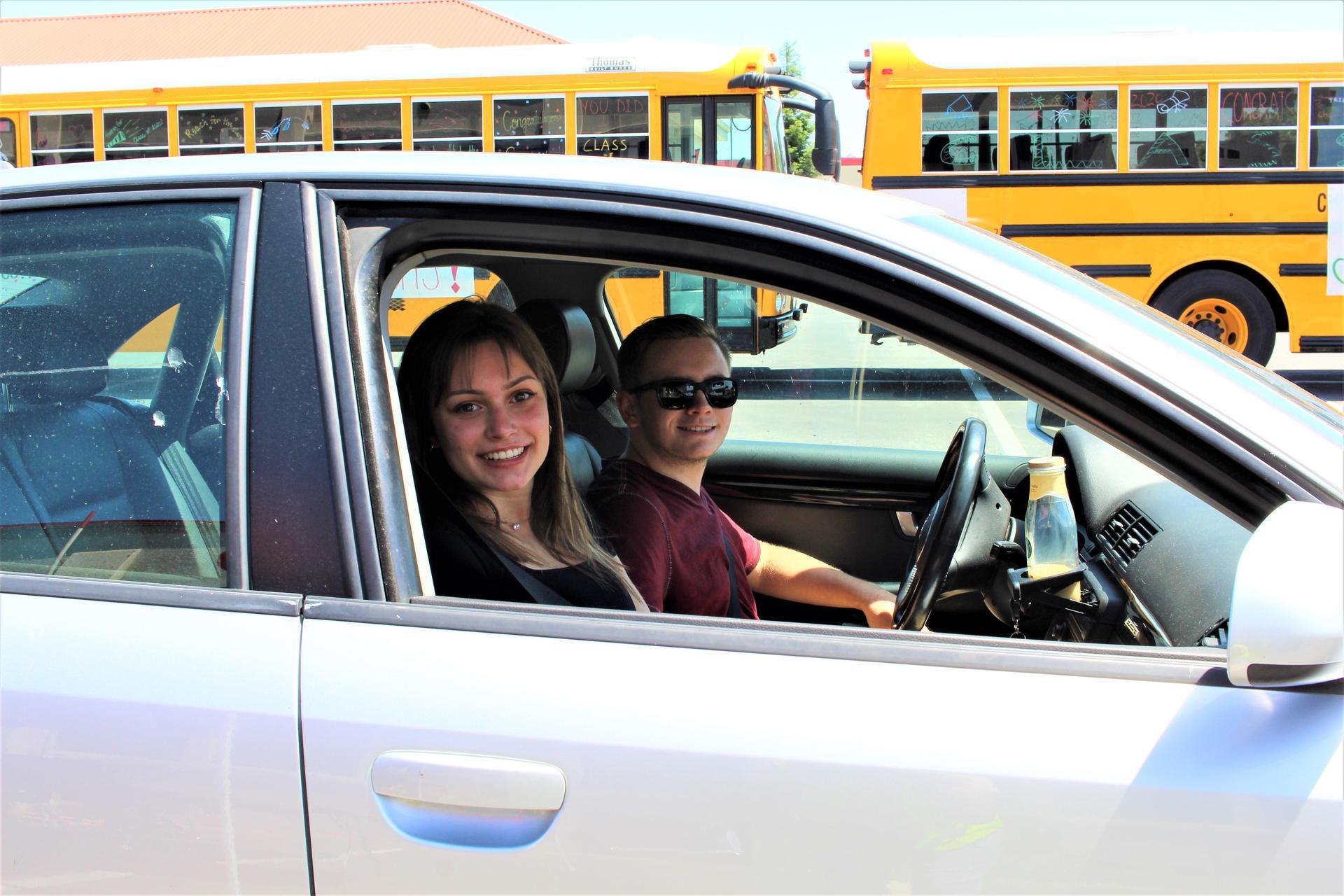 Kirsta Pitarre riding with Kameron Pitarre driving